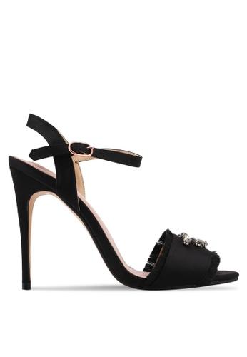 Velvet black Embellished Frills High Heels 715E2SHD9246F4GS_1