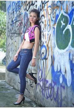 Pink Punk Rock Crop Top Boat Neck Vest with Black Ribbing