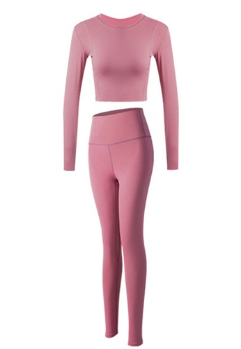 Sunnydaysweety pink Skinny Long Sleeves Top with Tights Set A081021PI EC0F1AA234C105GS_1
