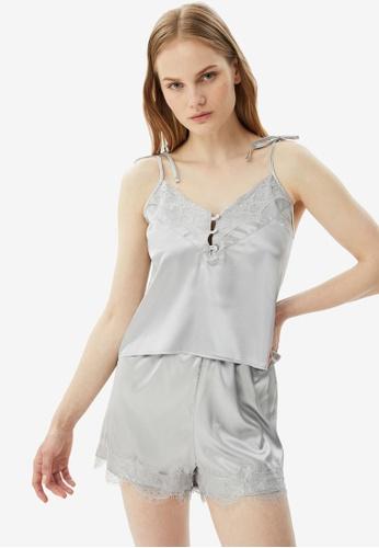 Trendyol 灰色 蕾絲 綢緞 Pajamas Set 24907AA69B46EAGS_1