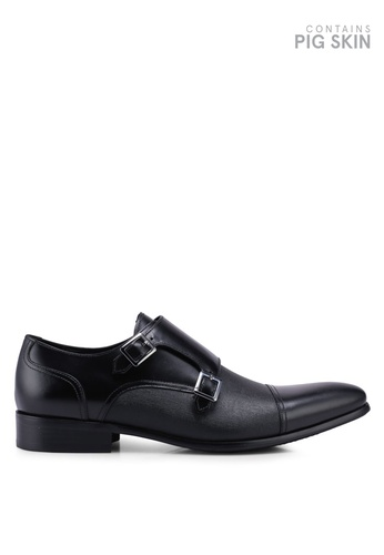 Dune London black Prodigy Toe Cap Saffiano Monk Strap Shoes 87025SH41EB003GS_1