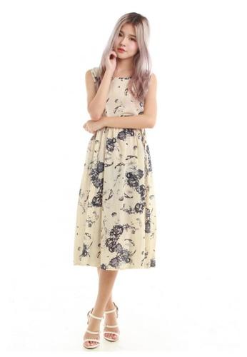 Sophialuv beige Kimmi Drawstring Midi Dress in Beige E674DAA7DD6514GS_1