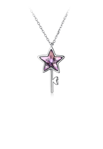 Glamorousky purple 925 Sterling Silver Elegant Fashion Star and Key Pendant and Necklace with Austrian Element Crystal CE617AC679767EGS_1