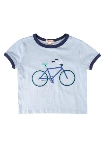 Du Pareil Au Même (DPAM) blue Bicycle Embroidery T-Shirt 9F773KA9D128C2GS_1