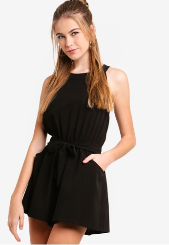 Something Borrowed black Waist Tie Pocket Playsuit F3695AA9F90BA0GS_1