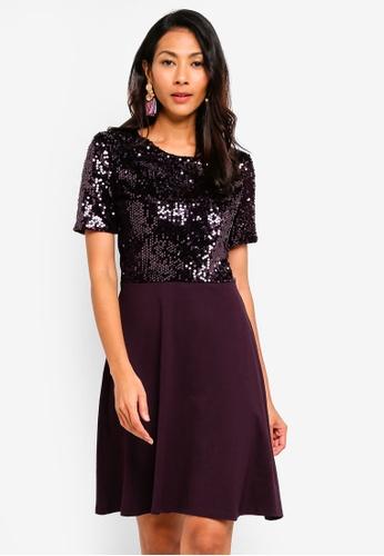 Dorothy Perkins 紅色 Wine Sequin Top Dress 9E4CFAA1DBF5DEGS_1