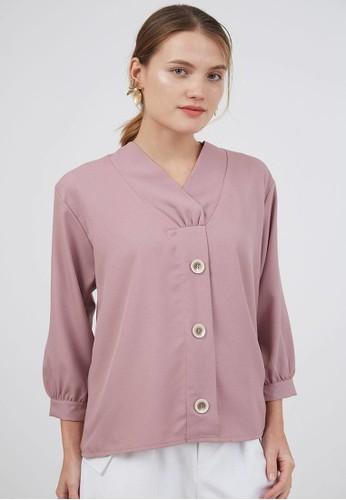 Berrybenka Label pink Sophie Muya Overlap Blouse Pink 11B95AA69B4288GS_1
