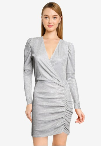 Quiz silver Wrap Front Ruched Bodycon Dress 78198AA78A88E4GS_1