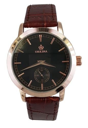 Chronomart black and gold Men's  Leather Strap Formal Business Wrist Watch CH783AC99NEMPH_1