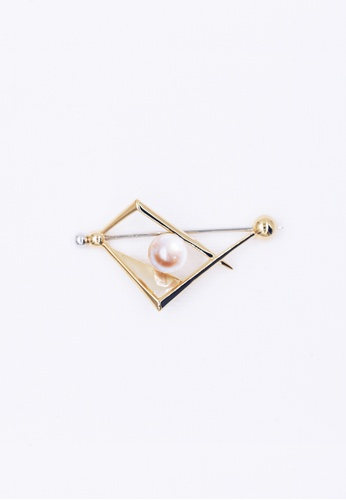 Paradeisos Jewellery white and silver and gold Interconnect Freshwater Pearl Brooch PA709AC2VLS6HK_1