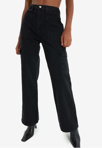 Trendyol black High Waist Wide Leg Jeans F75B7AAAF484F8GS_1