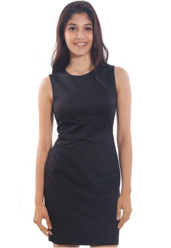 Kitschen black Basic Bodycon Knee-Length Dress 0DCEEAABBEFED1GS_1
