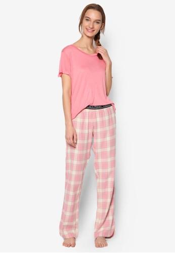 Pastel Checked Long Pyjamas,esprit 請人 服飾, 服飾