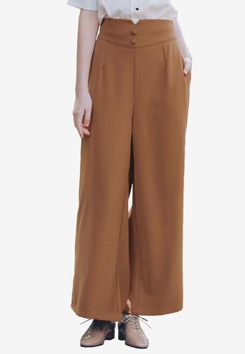 Kodz brown Wide Legged Culottes 3D867AA4C04B8EGS_1