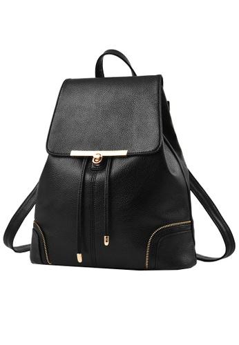 Stylebox black KLY16013 Drawstring with Twist Turn Lock Leather Backpack ST148AC74IKJPH_1