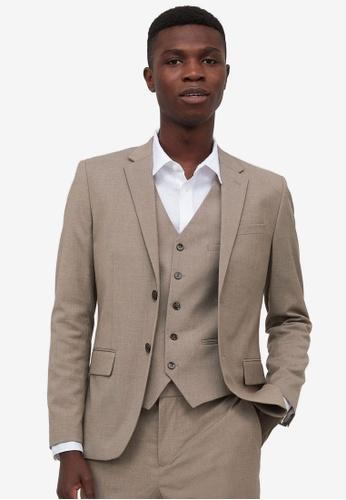 H&M beige Skinny Fit Jacket 6ECD1AA03C73E8GS_1