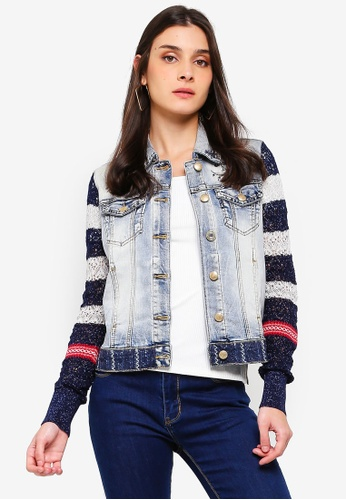 Desigual blue and multi Sailor Denim and Knit Jacket 9D285AA2E87C68GS_1