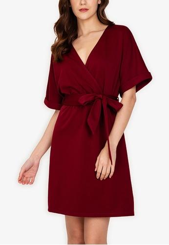 ZALORA WORK red Wrap Mini Dress With Belt 94A26AA48EE0F1GS_1