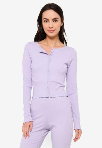 Cotton On Body purple Wake Up Late Rib Cardigan E0541AAE3C7059GS_1