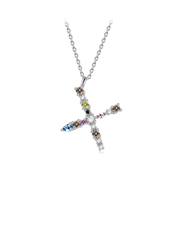 Glamorousky silver 925 Sterling Silver Fashion Simple Color English Alphabet X Pendant with Cubic Zirconia and Necklace 3B490AC687D583GS_1