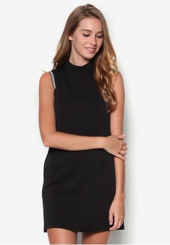 條紋邊esprit台灣門市飾高領連身裙, 服飾, 短洋裝