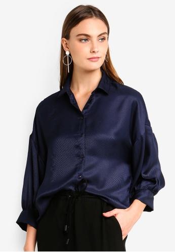 Vero Moda navy Edith 7/8 Shirt 43E28AA235F278GS_1