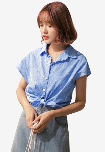 Tokichoi blue Flowers Embroidered Blouse 840D4AAC8907D9GS_1
