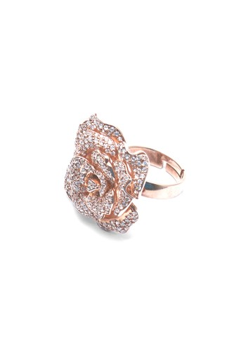 Celline Silver gold Big Rose Gold Plated Ring 383B1ACF418EDFGS_1