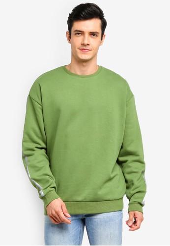 Factorie green Oversized Graphic Crew Sweatshirt 594B9AAB01EED8GS_1