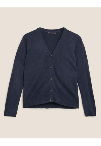 MARKS & SPENCER navy M&S Supersoft V-Neck Button Front Cardigan F37C0AA795FB60GS_1