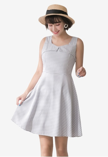 Tokichoi grey Sleeveless Plaid A-Line Dress D950EAA9843E8CGS_1