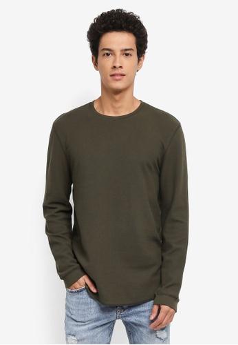 Topman 綠色 素色長袖棉T 228E2AAA40768BGS_1