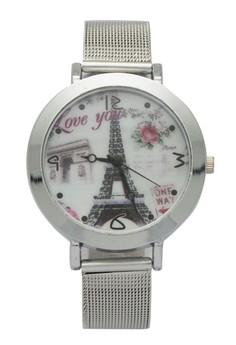 Love you eiffel tower Silver Mesh Watch