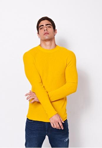 Sisley yellow Crew-neck Sweater AFAFBAA8C4F7B2GS_1