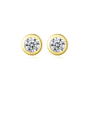 Glamorousky silver 925 Sterling Silver Plated Gold Simple Fashion Geometric Round Stud Earrings with Cubic Zirconia 5151BAC511AF4BGS_1