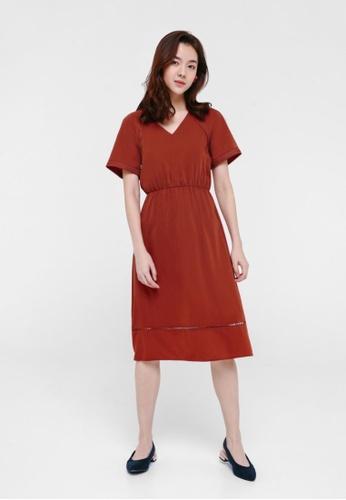 Love, Bonito orange Zia Contrast Stitching Midi Dress 17269AA8706A15GS_1