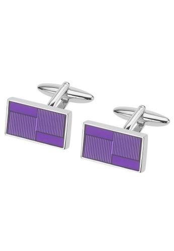 CUFF IT purple Transparent Purple Enamel Rectangular Cufflinks CU047AC2UQ9DHK_1
