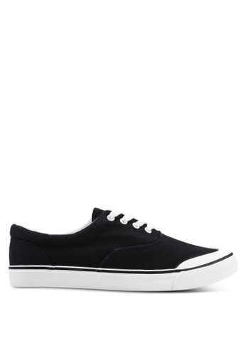 Brave Soul black Canvas Lace Up Plimsolls C8660SHE39C0D3GS_1