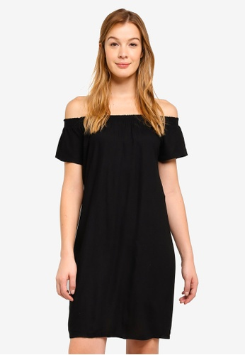 Pieces black Mie Off Shoulder Dress 4059BAA8737620GS_1