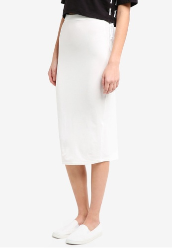 MISSGUIDED white Jersey Longline Midi Skirt 12A2AAAD45831EGS_1