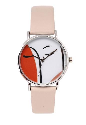 Milliot & Co. 米褐色 Carol 銀 PU Strap 手錶 33D2DACDC4A334GS_1