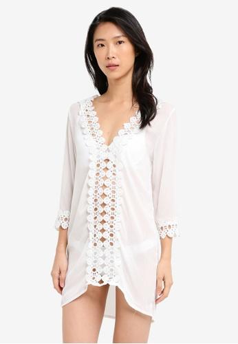 PINK N' PROPER white Maya Chiffon Deep V Lace Kaftan 33A26USF96461FGS_1