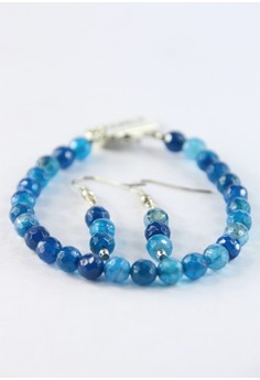 Round Blue Agate Bracelet With Earrings