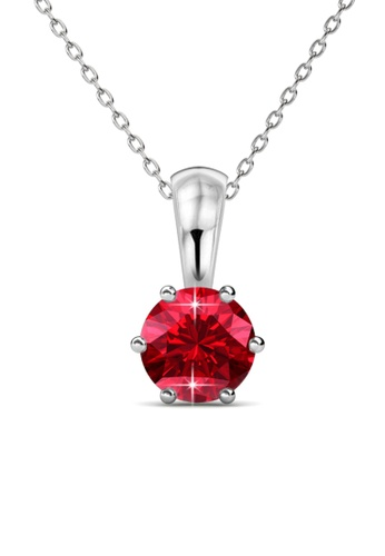 Her Jewellery red Birth Stone Pendant (July, White Gold) - Made with premium grade crystals from Austria EB572ACFD08A54GS_1