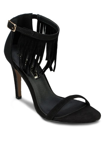 Ombre 一字流蘇繞踝高跟涼鞋, 女鞋, zalora 台灣門市鞋