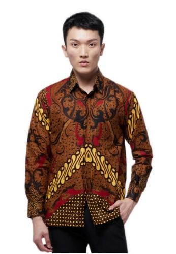 ABIROY brown Kresna S Kemeja Batik Pria Modern Lengan Panjang FB14DAAA5097F6GS_1