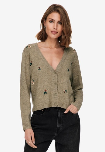 ONLY brown Fie Life Long Sleeves Knit Cardigan E1354AA654DFA1GS_1