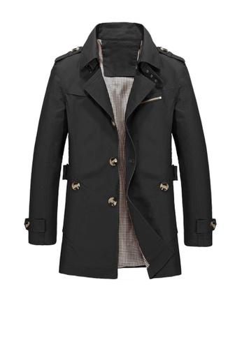 Twenty Eight Shoes black VANSA Fashion Washed Windbreaker Coat  VCM-C1306 EACFDAABA3B976GS_1