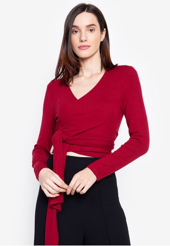 Susto The Label red Lilah Knit Wrap Top D5DE8AAAD19E0FGS_1