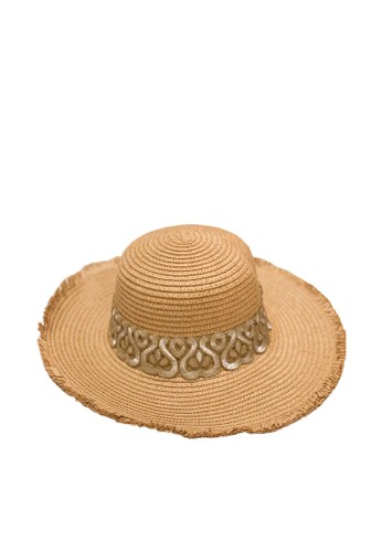 NAVVA BALI silver and brown Malibu Floppy Wide Brim Straw Beach Hat with Silver Embroidery CA998AC483FAAAGS_1